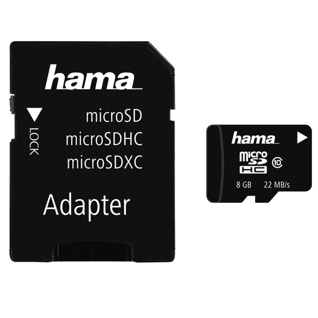 Hama microSDHC 8 GB Class 10 + Adapter/Mobile 22 MB/s