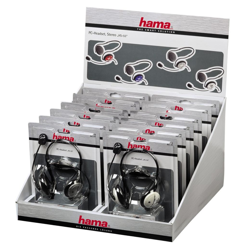 """Hama PC-Headset """"HS-55"""", displej box 12 ks"""
