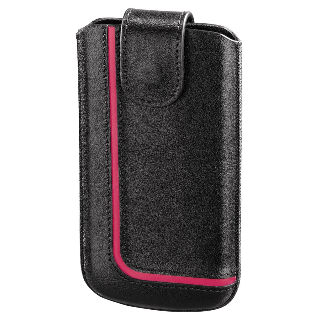 Hama pouzdro na mobilní telefon Neon Black, M, černé/růžové