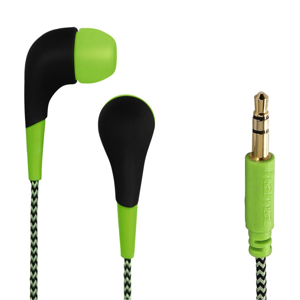 Hama sluchátka Neon, silikonové špunty, opletený kabel, zelená