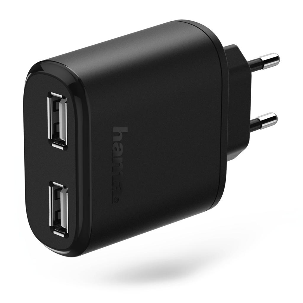 Hama dvojitá síťová USB nabíječka AutoDetect, 4,8 A