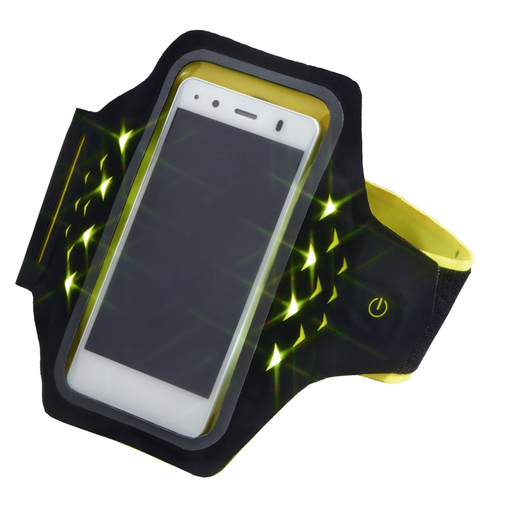 Hama Active sportovní pouzdro na rameno s LED, velikost XL, černé/žluté