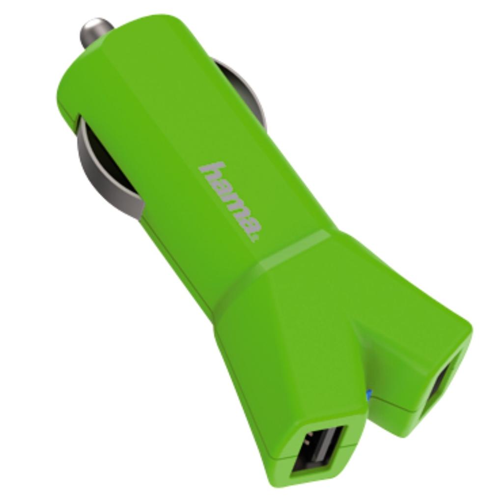 Hama dvojitá USB nabíječka do vozidla Color Line, AutoDetect, 3,4 A, zelená
