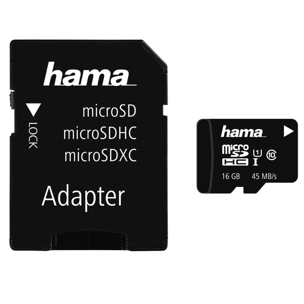 Hama microSDHC 16 GB UHS-I 45 MB/s Class 10 + Adaptér