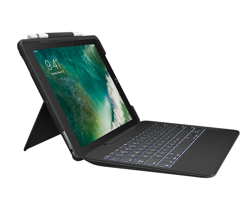 Logitech® SLIM COMBO with detachable keyboard and Smart Connector for iPad Pro 12.9 inch - BLACK - UK - INTNL