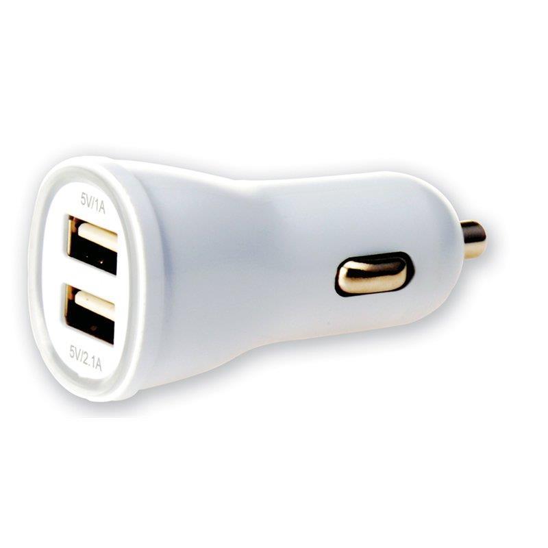 Techly nabíječka do auta USB 5V 1A/2.1A, 12/24V, dva USB porty, bílá