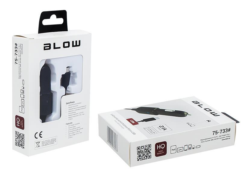 BLOW nabíječka do auta Micro USB 2.1A 12-24V