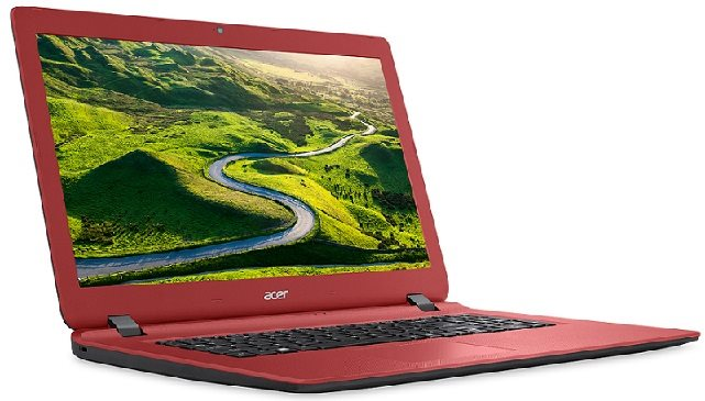 "Acer Aspire ES 17 (ES1-732-C02L) Celeron N3350/4GB+N/A/1TB+N/A/DVDRW/HD Graphics/17.3"" HD+ LED lesklý/BT/W10 Home/Black/Red"