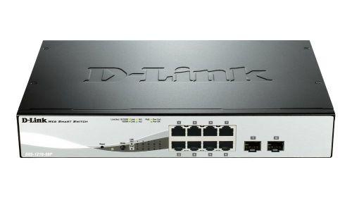 D-Link DGS-1210-08P Smart PoE switch, 8x GbE PoE+, 2x SFP, PoE 65W, fanless
