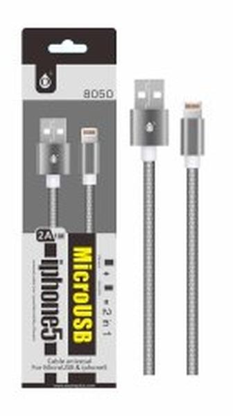 Aligator datový kabel PLUS 8050 UNI pro MicroUSB+lightning,metal