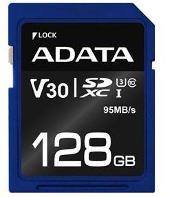ADATA paměťová karta 128GB Premier Pro SDXC UHS-I U3 V30S (čtení/zápis: 95/60MB/s)