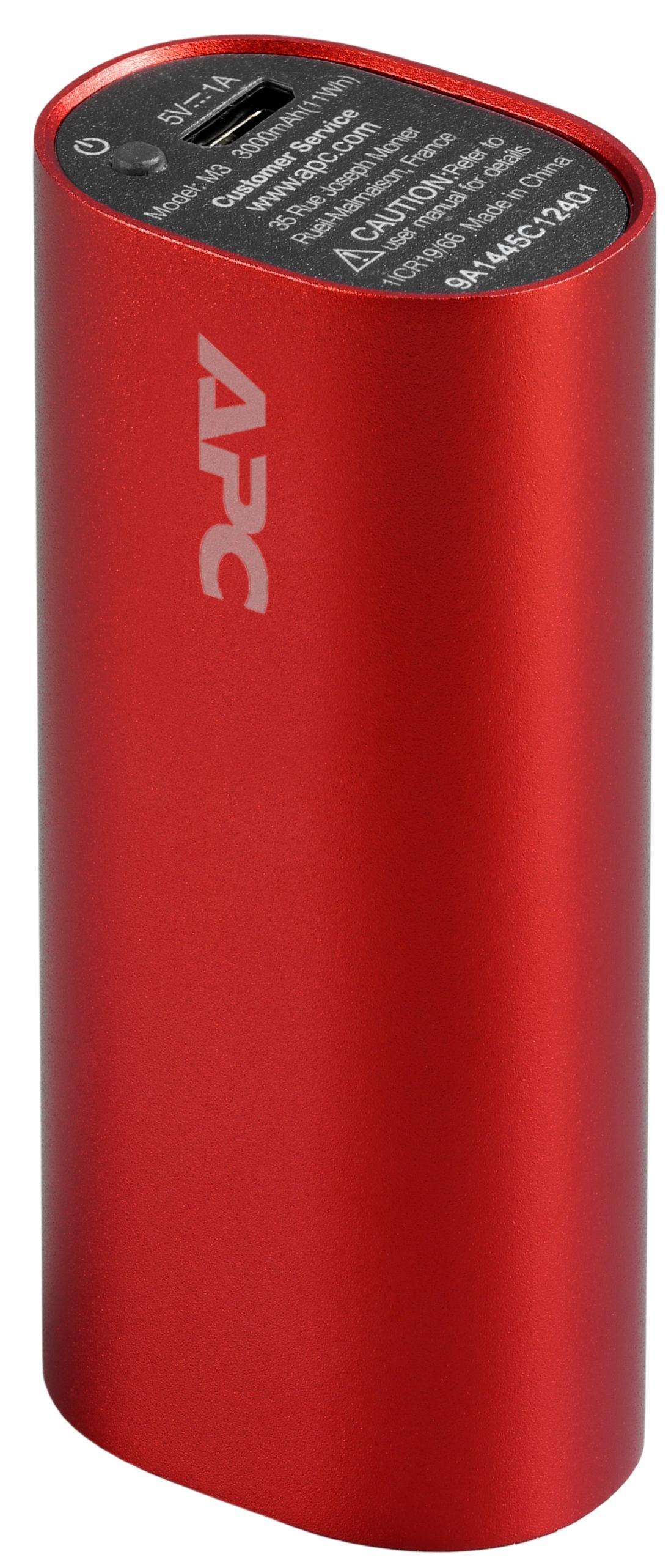 APC Mobile Power Pack, 3000mAh Li-on cylinder, Red (EMEA/CIS/MEA)