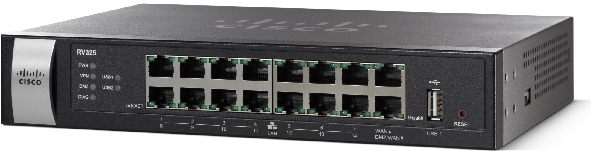 Cisco VPN Router RV325, 14x GE LAN + 2xWAN +2x USB