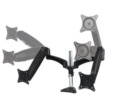 """ARCTIC Z2-3D stolní držák pro 2 monitory, 3D pohyb, 13""""-27"""" LCD, VESA, 2x 8 kg, 4-port USB 3.0 Hub, stříbrný/černý"""