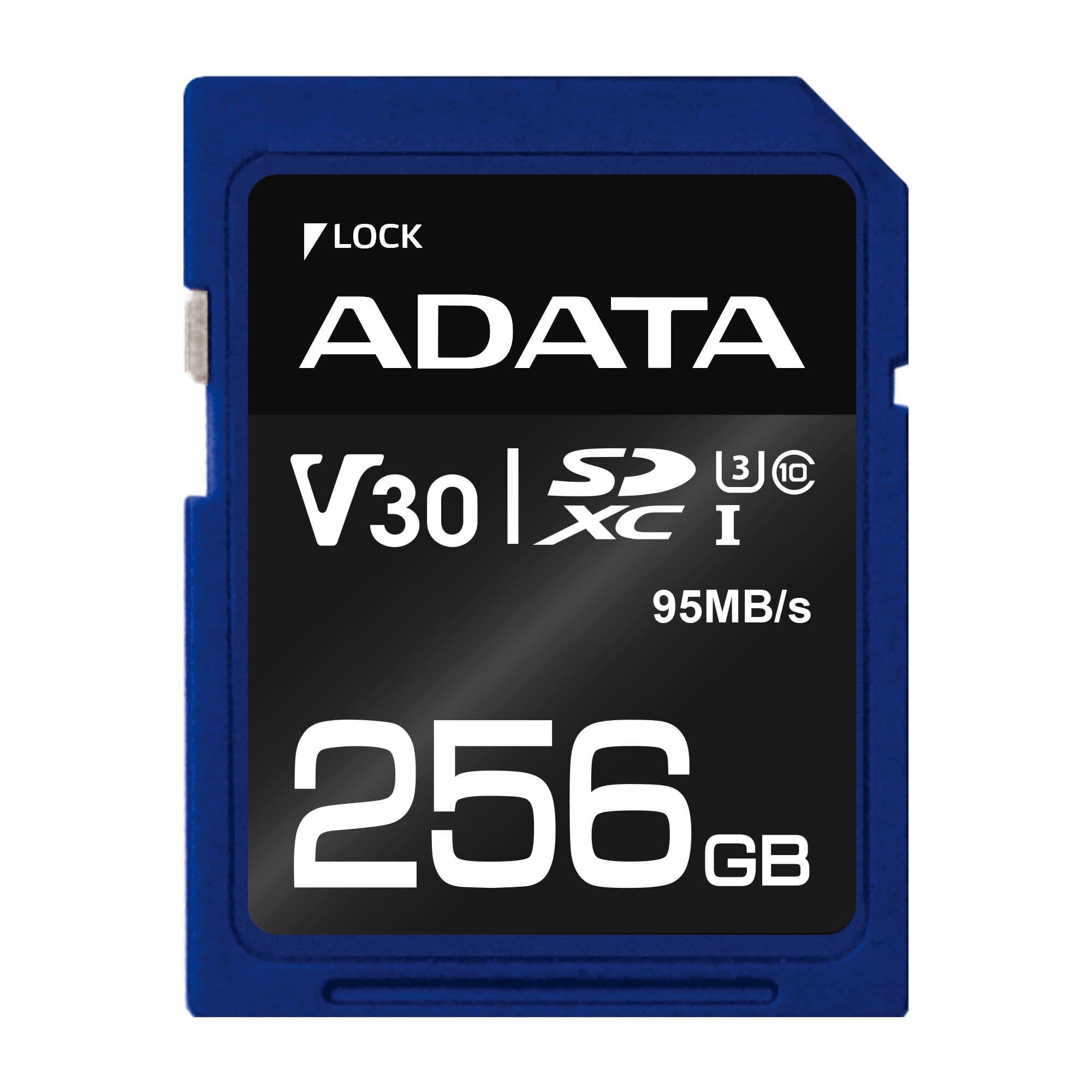 ADATA Premier Pro SDXC UHS-I U3 Class 10 256GB (čtení 95MB/s,zápis 60MB/s)retail
