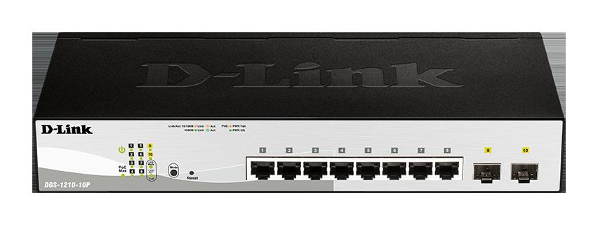 D-Link DGS-1210-10P L2/L3 Smart+ PoE switch, 8x GbE PoE+, 2x SFP, PoE 65W, fanless