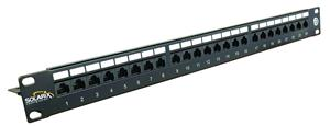"19"" Patch panel Solarix 24 x RJ45 CAT6 UTP černý"