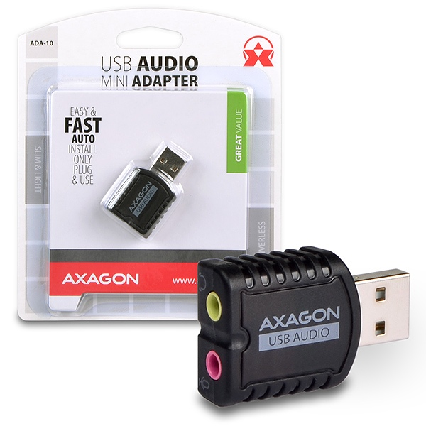 AXAGON ADA-10, USB2.0 - stereo audio MINI adapter
