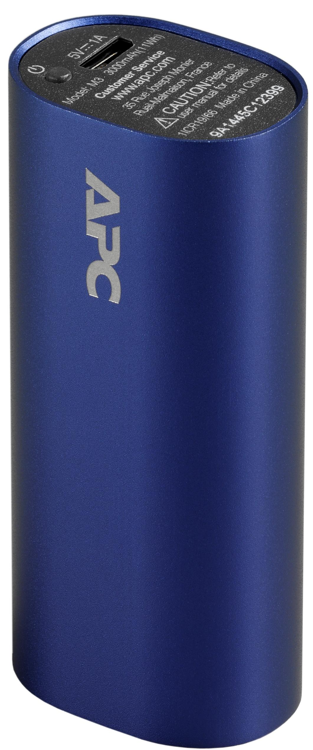 APC Mobile Power Pack, 3000mAh Li-ion cylinder, Blue Power Bank