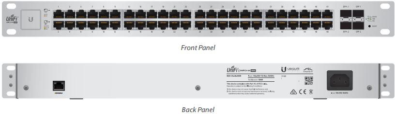 Ubiquiti UniFiSwitch US-48-500W - 48x GLAN, 2x SFP, 2x SFP+, POE+, 500W