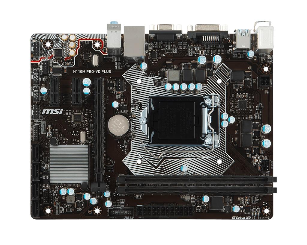 MSI H110M PRO-VD PLUS, 1151, H110, 1xPCIe 3.0 x16, 2xDDR4, SATAIII, USB 3.1, VGA, DVI, mATX