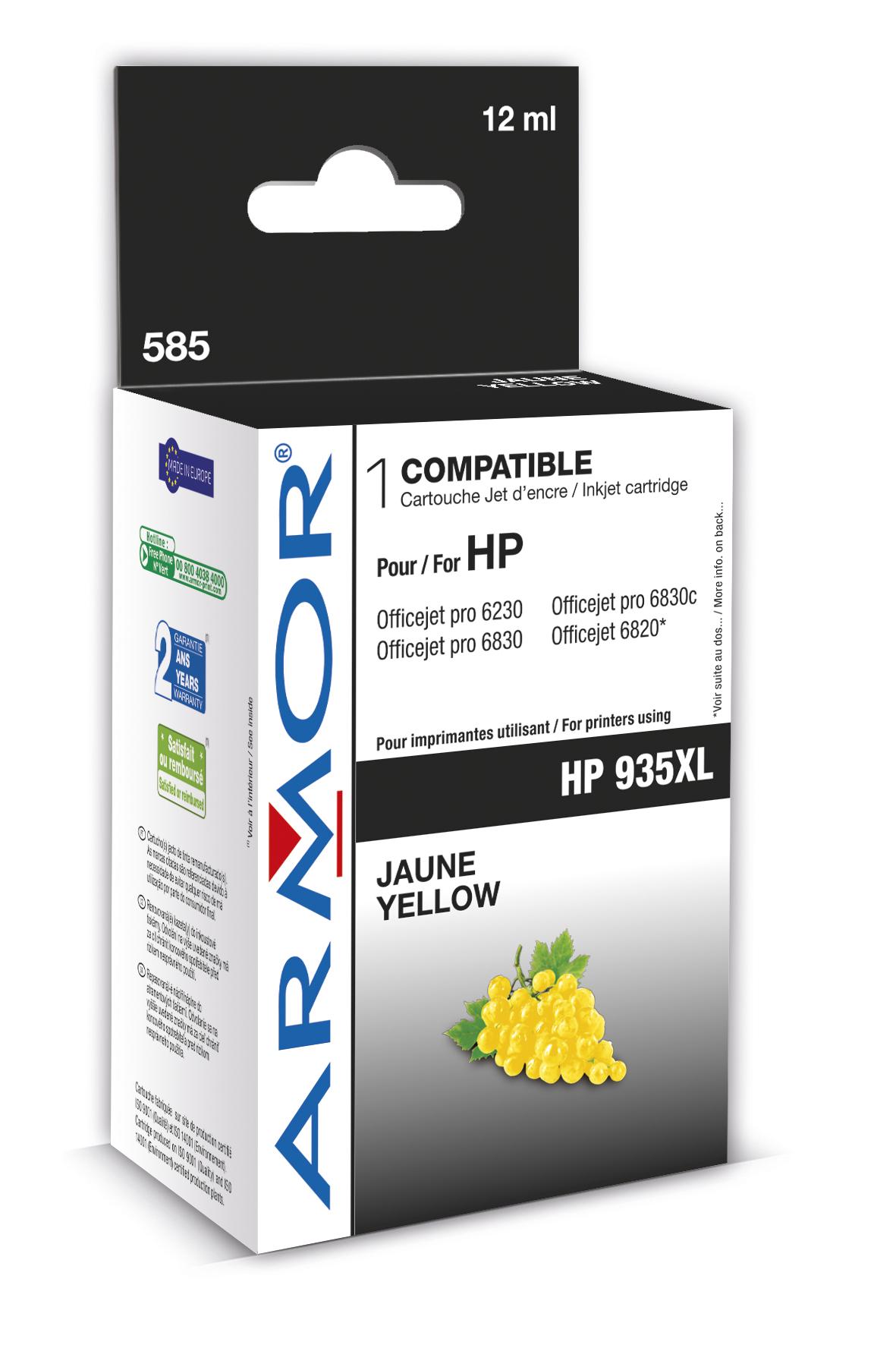 ARMOR cartridge pro HP OfficeJet 6830 yellow, 12 ml, kom.s C2P26AE