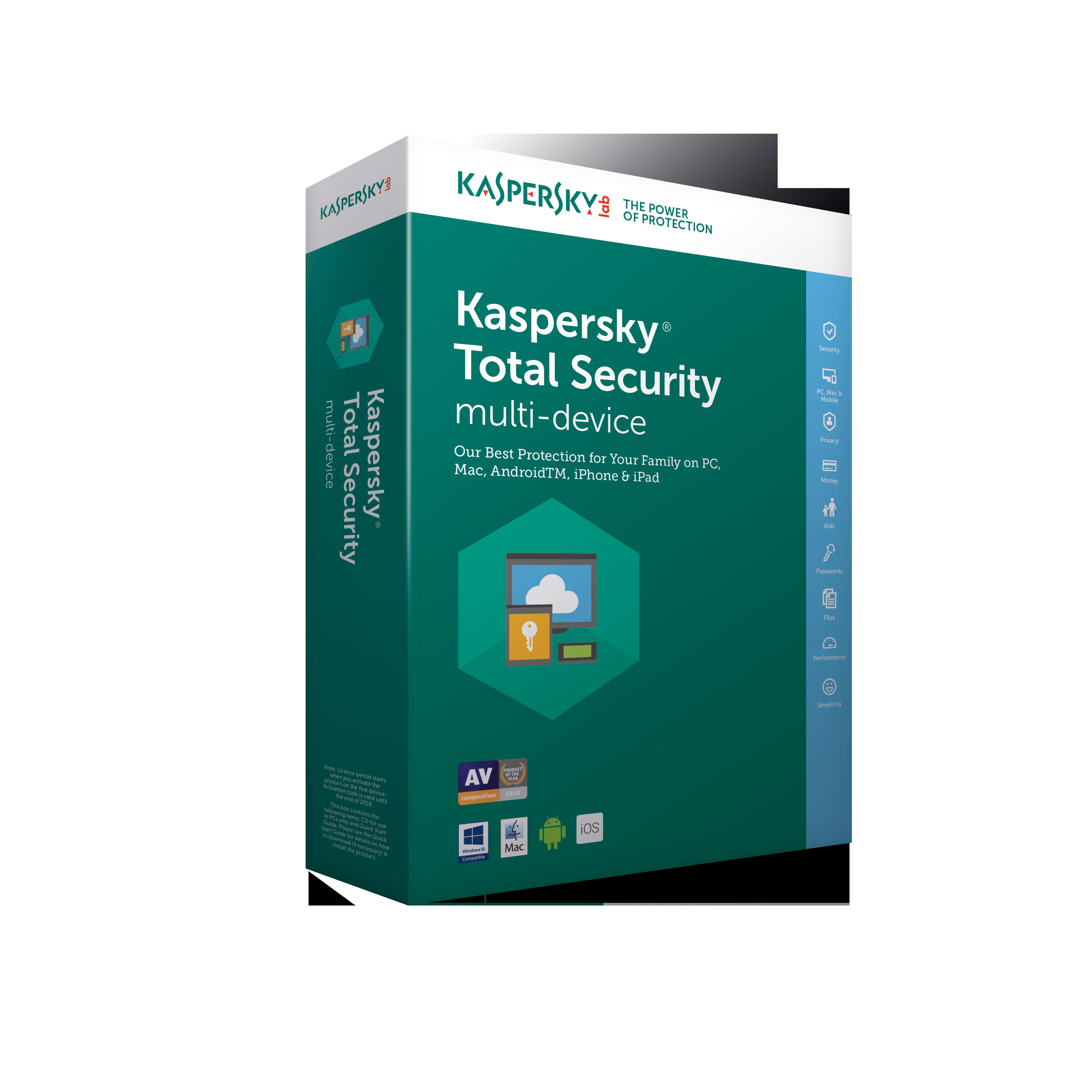 Kaspersky Total Security multi-device 2018 CZ, 3 zařízení, 24 měsíců - prodloužení (ESD)