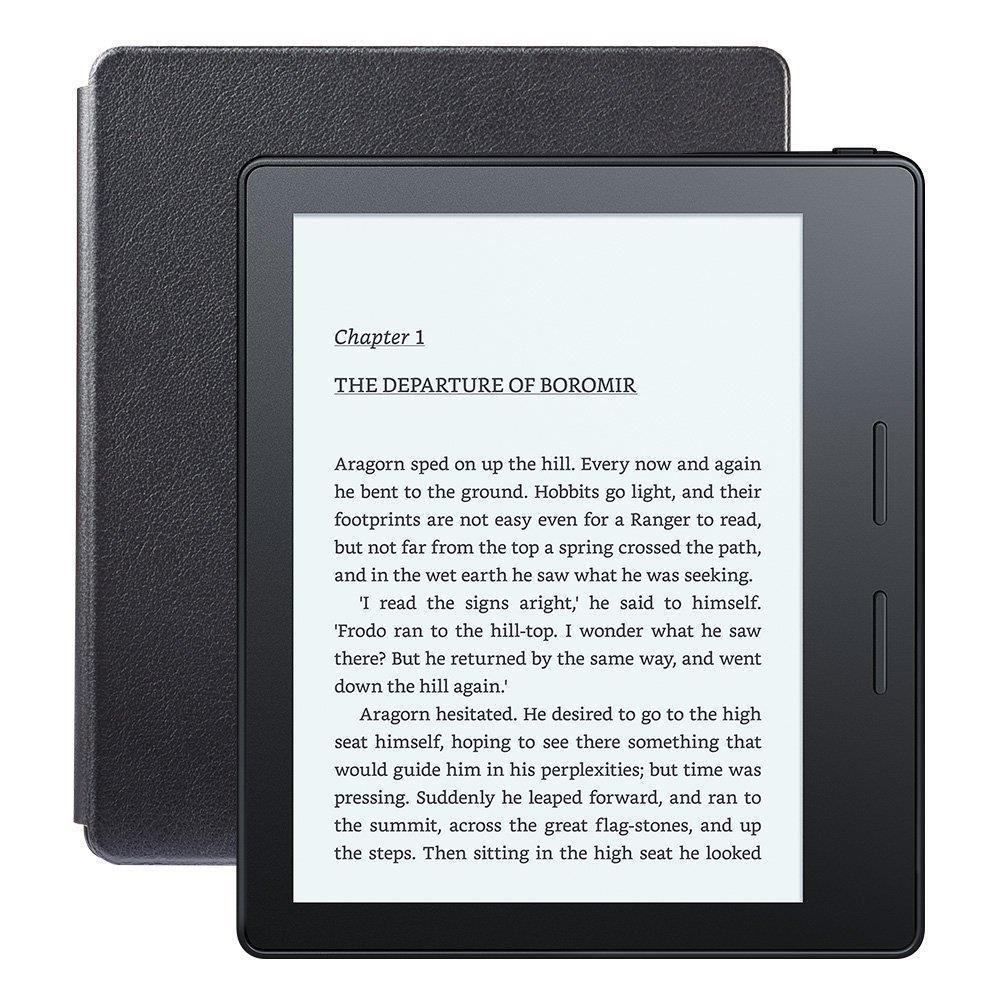 Amazon Kindle Oasis, 6'' E-Ink displej, WiFi, černý + kožené nabíjecí pouzdro