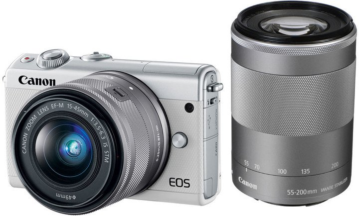 Canon EOS M100 White + EF-M 15-45mm f/3.5-6.3 IS STM + EF-M 55-200mm f/4.5-6.3 IS STM