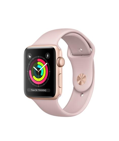 APPLE Watch Series 3 GPS, 42mm pouzdro ze zlatého hliníku + růžový sportovní řemínek