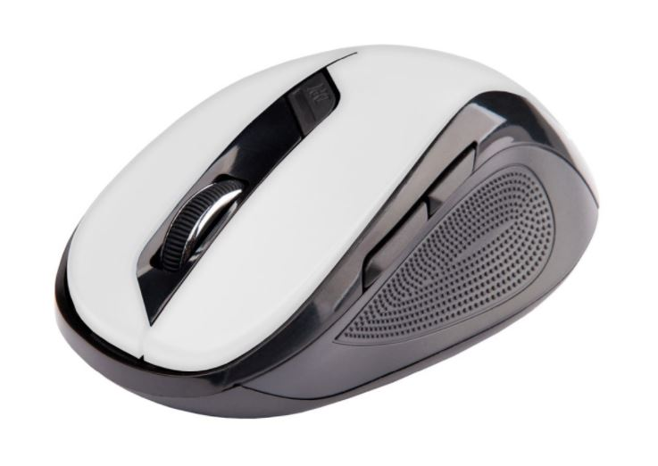 C-TECH myš WLM-02, černo-bílá, bezdrátová, 1600DPI, 6 tlačítek, USB nano receiver