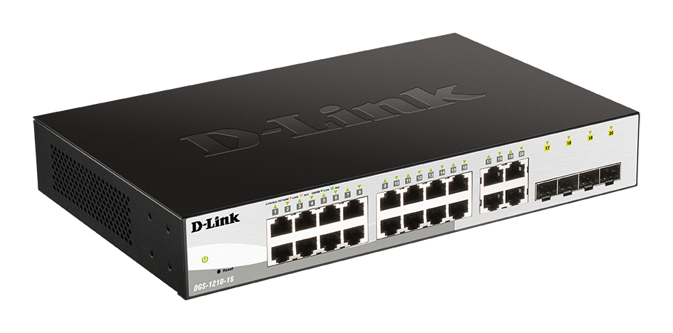D-Link DGS-1210-16 Smart switch, 16x GbE, 4x RJ45/SFP, fanless