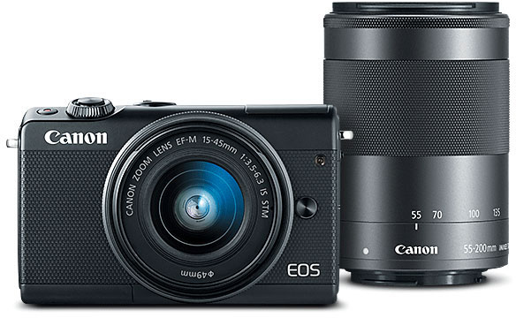 Canon EOS M100 Black + EF-M 15-45mm f/3.5-6.3 IS STM + EF-M 55-200mm f/4.5-6.3 IS STM