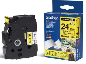 Brother - TZ-FX651, žlutá / černá, 24 mm, s flexibilní páskou