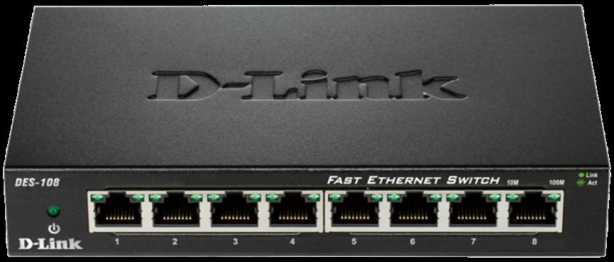 D-Link DES-108 kovový 8-port 10/100 Desktop Switch