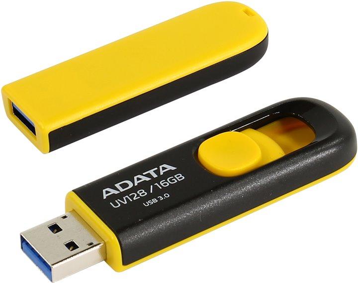 ADATA Flash Disk 16GB USB 3.0 Dash Drive UV128, černý/žlutý (R: 40MB / W: 25MB)