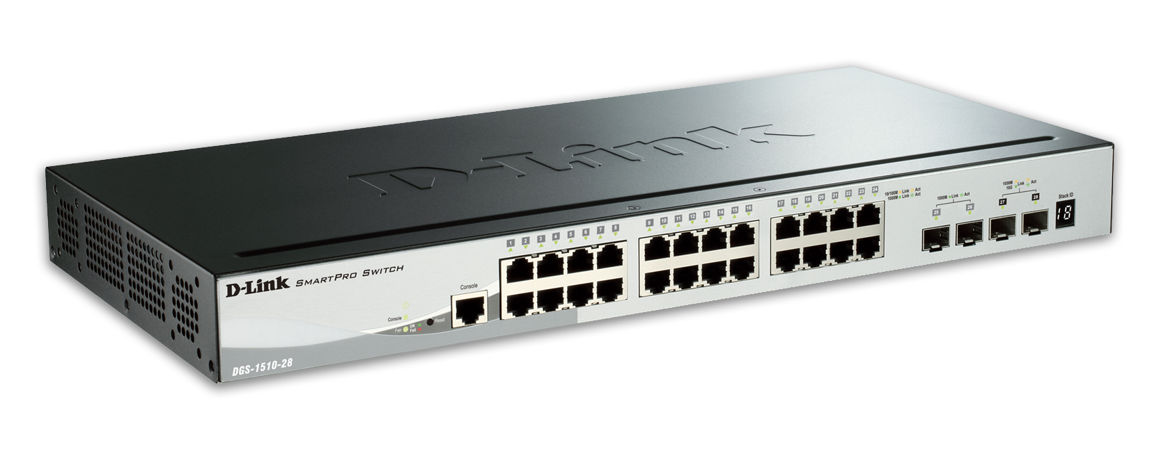 D-Link DGS-1510-28 28-Port Gigabit Stackable Smart Managed Switch including 2 10G SFP+ and 2 SFP ports (smart fans)