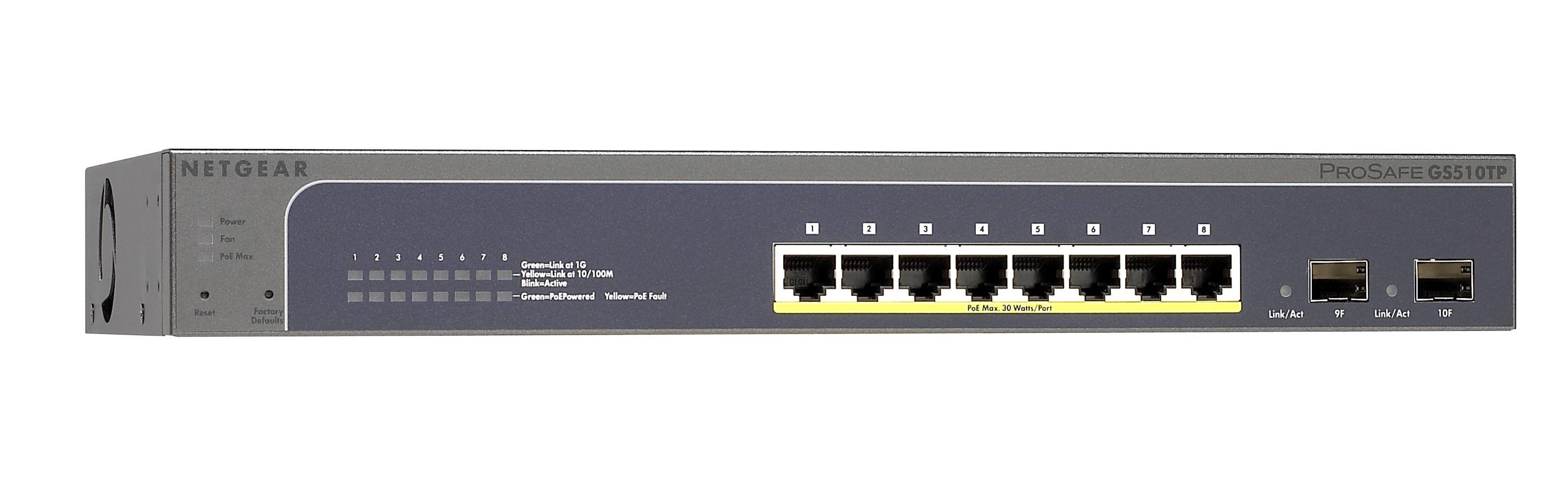 NETGEAR 8xGb PoE Smart Switch,130W, GS510TP