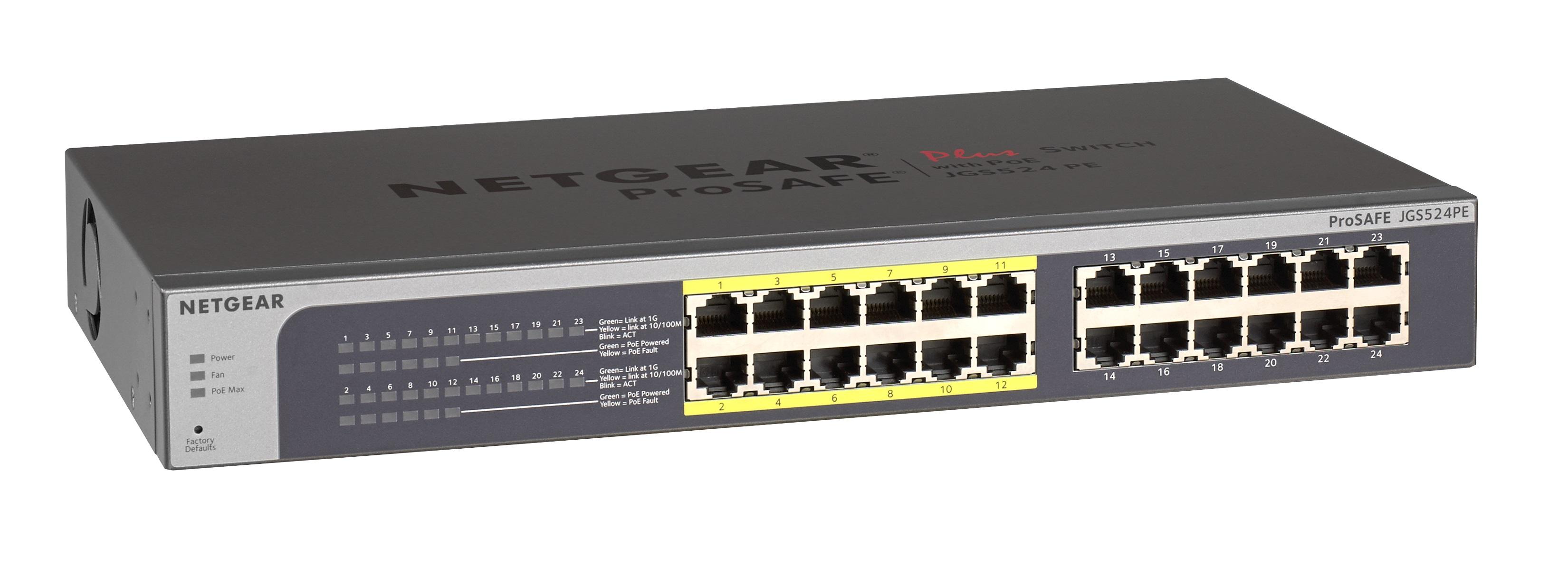 NETGEAR 24xGb/12x PoE Plus switch;100W;JGS524PE