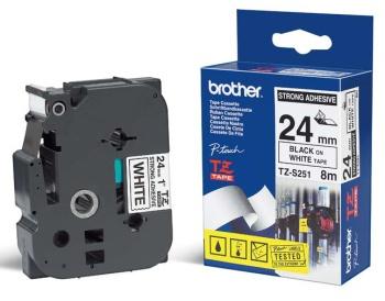 Brother - TZ-S251 bílá / černá (24mm,lamin.,extrémně adh.)