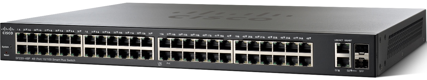 Cisco SF220-48P-K9-EU 48x10/100 PoE Smart+ Switch
