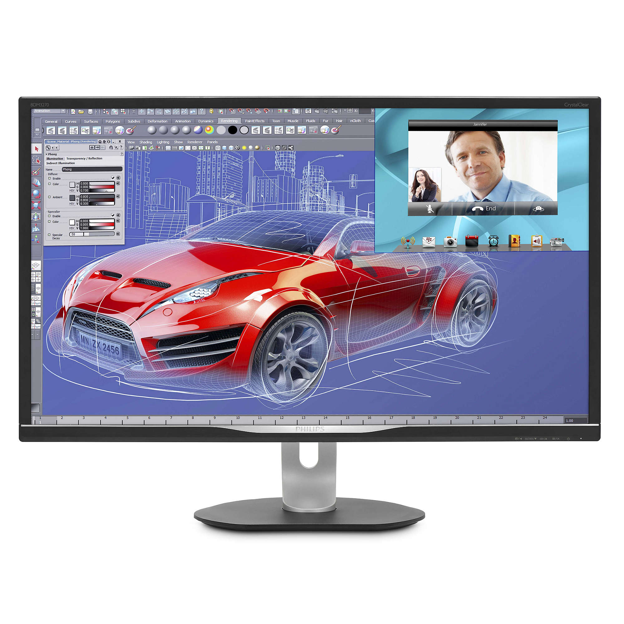 "Philips LCD BDM3270QP 32""wide VA LED/2560x1440/50mil:1/4 ms/VGA/DVI/DP/HDMI/MHL/4xUSB/pivot/repro"