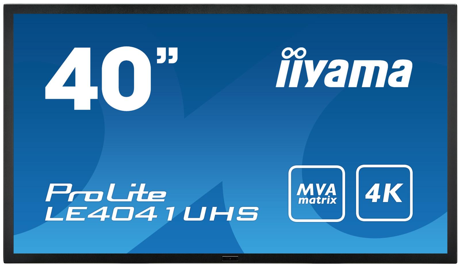 "40"" LCD iiyama ProLite LE4041UHS-B1 -4K, MVA, 4ms, 350cd, VGA, DVI, 2xHDMI, DP, RS232C, repro"