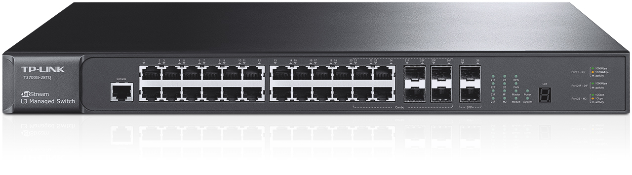 TP-Link T3700G-28TQ L3 Managed Switch, 24x1G,4x combo,2+2 10G SFP+