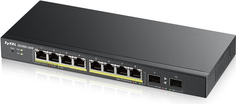 Zyxel GS1900-10HP, 10-port Desktop Gigabit Web Smart switch: 8x Gigabit metal + 2x SFP, IPv6, 802.3az (Green), PoE 802.3
