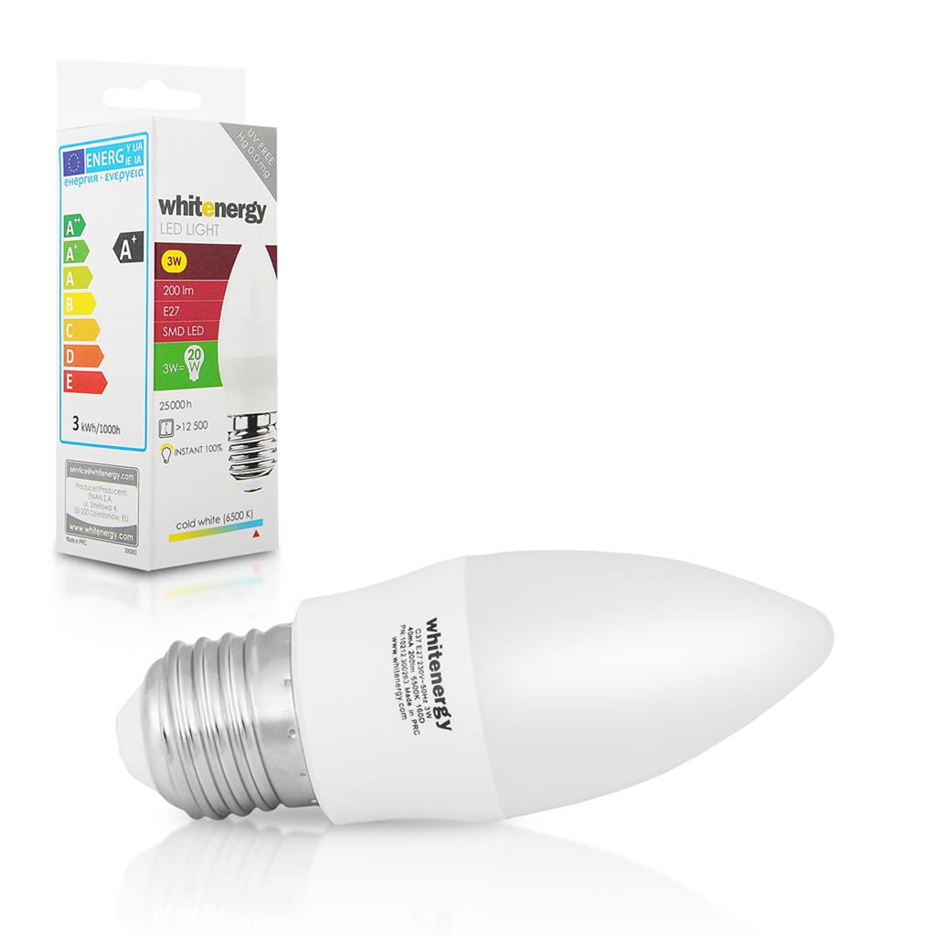 Whitenergy LED žárovka | 7xSMD2835| C37 | E27 | 3W | 230V |studená bílá| mléko