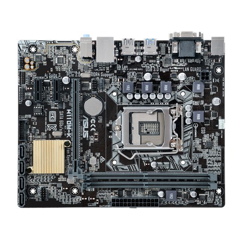 ASUS H110M-K, 1151, H110, 2xDDR4, PCIe 3.0x16, SATAIII, USB3.0, DVI-D, mATX