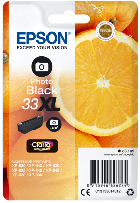 Epson Singlepack Photo Black 33XL Claria Prem. Ink