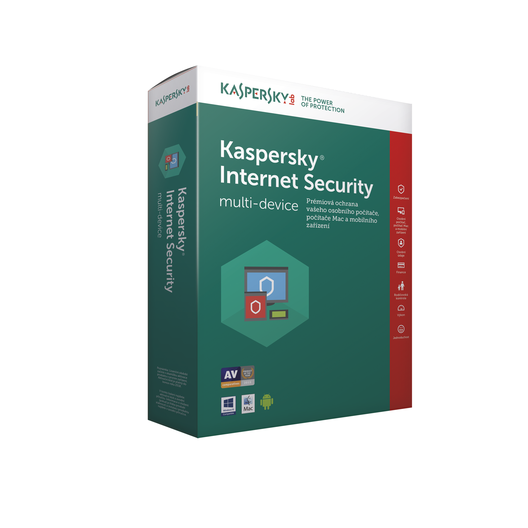 Kaspersky Internet Security MD 2019 CZ, 3x, 1 rok