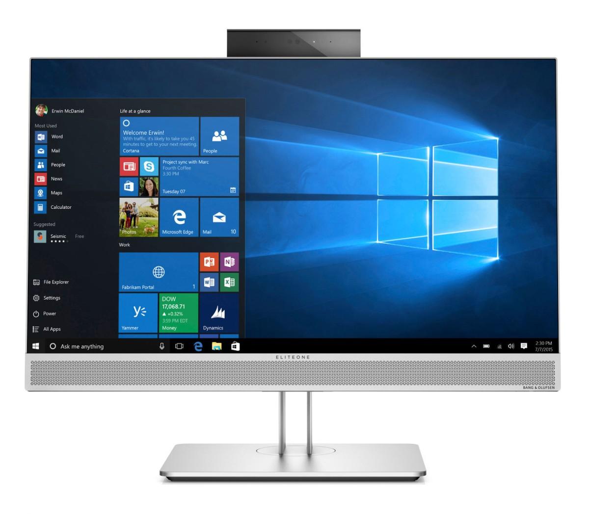 HP EliteOne 800G3 AiO 23.8 FHD Touch / i7-7700 / 8 GB / 256 GB SSD m.2 / Radeon RX 460 2GB / Win 10 Pro